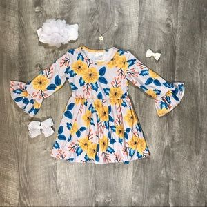 Girls boutique floral magnolia dress